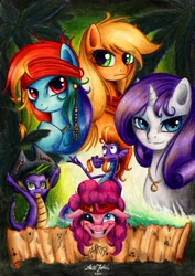 Size: 800x1131 | Tagged: safe, artist:lavosvsbahamut, character:applejack, character:pinkie pie, character:rainbow dash, character:rarity, character:spike, character:steven magnet, species:dragon, species:earth pony, species:pegasus, species:pony, species:unicorn, colored pencil drawing, coloured pencil, crossover, female, gel pen, male, mare, movie poster, parody, pencil, photoshop elements, pirate, pirates of the caribbean, poster, sea serpent, shipping, traditional art, watercolor painting, watercolour