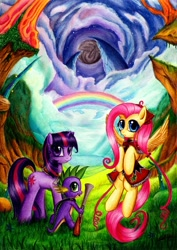 Size: 800x1128 | Tagged: safe, artist:lavosvsbahamut, character:fluttershy, character:spike, character:twilight sparkle, character:twilight sparkle (unicorn), species:dragon, species:pegasus, species:pony, species:unicorn, blunderbuss, clothing, colored pencil drawing, cover art, crossover, eternal sonata, female, gun, male, mare, parody, photoshop elements, poster, traditional art, trio, weapon