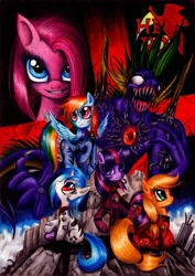 Size: 900x1271 | Tagged: safe, artist:lavosvsbahamut, character:applejack, character:dj pon-3, character:pinkamena diane pie, character:pinkie pie, character:rainbow dash, character:spike, character:twilight sparkle, character:vinyl scratch, species:earth pony, species:pegasus, species:pony, species:unicorn, g4, crossover, female, mare, movie poster, neon genesis evangelion, parody, photoshop elements, poster