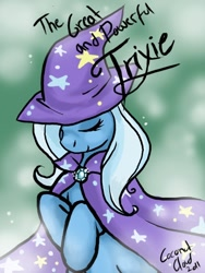 Size: 504x670 | Tagged: dead source, safe, artist:veritasket, character:trixie, species:pony, species:unicorn, g4, bipedal, eyes closed, female, jewelry, mare, pendant, photoshop, smiling, solo, trixie's cape, trixie's hat