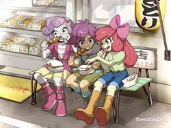 Size: 2048x1534 | Tagged: safe, artist:babtyu, character:apple bloom, character:scootaloo, character:sweetie belle, species:eqg human, species:human, g4, my little pony:equestria girls, bench, cutie mark crusaders, eating, yakitori