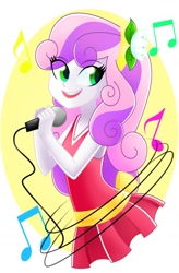 Size: 1104x1686 | Tagged: safe, artist:xan-gelx, character:sweetie belle, species:eqg human, g4, microphone, singing, solo