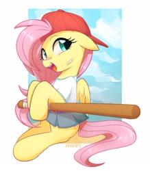 Size: 2500x2855 | Tagged: safe, artist:maren, character:fluttershy, species:pegasus, species:pony, g4, baseball bat, baseball cap, cute, grunge, solo