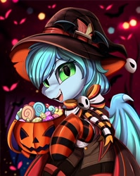 Size: 2550x3209 | Tagged: safe, artist:pridark, oc, oc:blackberry frost, species:bat pony, species:pony, bat pony oc, bat wings, candy, clothing, commission, food, halloween, hat, high res, holiday, jack-o-lantern, open mouth, part of a set, pumpkin, pumpkin bucket, socks, solo, striped socks, wings, witch hat, ych result