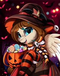 Size: 2550x3209 | Tagged: safe, artist:pridark, oc, oc only, oc:amora bunny, species:pegasus, species:pony, candy, clothing, commission, cute, female, food, halloween, hat, high res, holiday, jack-o-lantern, mare, ocbetes, open mouth, part of a set, pumpkin, socks, solo, striped socks, witch hat, ych result