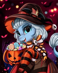 Size: 2550x3209 | Tagged: safe, artist:pridark, oc, oc only, species:pony, candy, clothing, commission, food, halloween, hat, high res, holiday, jack-o-lantern, pumpkin, socks, solo, striped socks, unknown species, witch hat, ych result