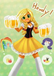 Size: 1000x1407   Tagged: safe, artist:howxu, character:applejack, character:rainbow dash, character:rarity, ship:rarijack, my little pony:equestria girls, adorasexy, alcohol, alternate hairstyle, bar maid, beer, braid, cider, clothing, commission, cute, dirndl, dress, female, hatless, howdy, jackabetes, lesbian, looking at you, missing accessory, sexy, shipping, skirt, socks, that pony sure does love cider