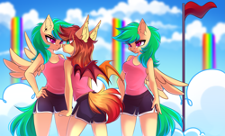 Size: 4555x2760 | Tagged: safe, artist:airiniblock, rcf community, oc, oc only, oc:cloud skipper, oc:sky rider, oc:sundown, species:anthro, species:bat pony, species:pegasus, species:pony, angry, bat pony oc, bat wings, breasts, clothing, cloud, cloudsdale, commission, ear piercing, eye contact, flag, flag pole, frown, green eyes, green mane, green tail, gym shorts, hand on hip, looking at each other, nervous, open mouth, orange mane, orange tail, pegasus oc, piercing, pink eyes, rainbow waterfall, red eyes, red flag, shirt, shorts, side slit, sky, sports shorts, sporty style, spread wings, t-shirt, tanktop, teal eyes, twins, unamused, wings