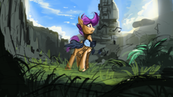 Size: 1920x1080 | Tagged: safe, artist:hierozaki, character:scootaloo, species:pegasus, species:pony, clothing, female, music notes, scarf, scenery, singing, sketch, solo