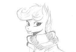 Size: 1226x839 | Tagged: safe, artist:hierozaki, character:scootaloo, species:pegasus, species:pony, bust, clothing, female, looking at you, monochrome, open mouth, portrait, scarf, simple background, solo, white background