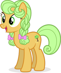 Size: 2165x2575 | Tagged: safe, artist:punzil504, character:goldie delicious, species:earth pony, species:pony, episode:the perfect pear, g4, my little pony: friendship is magic, bow, braid, female, hair bow, mare, simple background, solo, transparent background, vector, young goldie delicious, younger