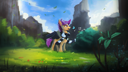 Size: 1920x1080 | Tagged: safe, artist:hierozaki, character:scootaloo, species:pegasus, species:pony, clothing, female, scarf, singing, solo