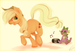 Size: 1600x1096   Tagged: safe, artist:imalou, character:applejack, character:spike, ship:applespike, dancing, female, male, music, shipping, straight