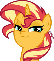 Size: 3571x4000 | Tagged: safe, artist:orin331, character:sunset shimmer, species:pony, species:unicorn, :3, >:3, bust, cute, female, high res, lidded eyes, looking at you, mare, portrait, shimmerbetes, simple background, smug, smugset shimmer, solo, transparent background, vector
