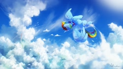 Size: 2560x1440 | Tagged: safe, artist:anticular, character:rainbow dash, species:pegasus, species:pony, g4, cloud, cloudsdale, eyes closed, female, flying, mare, scenery, smiling, solo, spread wings, wings