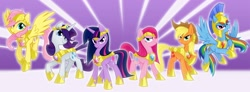 Size: 3000x1100 | Tagged: safe, artist:equestria-prevails, character:applejack, character:fluttershy, character:pinkie pie, character:rainbow dash, character:rarity, character:twilight sparkle, character:twilight sparkle (unicorn), species:earth pony, species:pegasus, species:pony, species:unicorn, armor, armor of friendship, armorarity, elements of harmony, evil grin, female, flying, glare, hilarious in hindsight, looking at you, mane six, mare, photoshop, pinkamena diane pie, prevailing armor, raised hoof, smiling, smirk, spread wings, wallpaper, wings, you came to the wrong neighborhood