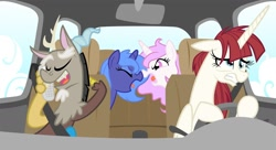 Size: 1750x950 | Tagged: safe, artist:equestria-prevails, character:discord, character:princess celestia, character:princess luna, oc, oc:fausticorn, species:alicorn, species:draconequus, species:pony, alicorn oc, angry, argument, boop, braces, car, cellphone, cewestia, cloud, driving, eyes closed, female, filly, floppy ears, glare, gritted teeth, hoof hold, lauren faust, mare, messy mane, noseboop, open mouth, phone, photoshop, pink-mane celestia, seatbelt, smiling, stressed, teenage discord, tongue out, woona, yelling, younger