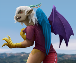 Size: 1000x828 | Tagged: safe, artist:geoffrey mcdermott, artist:tf-sential, character:discord, oc:eris, species:draconequus, clothing, collaboration, human to draconequus, looking at you, looking back, looking back at you, ripping clothes, rule 63, shirt, smiling, solo, transformation