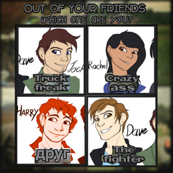 Size: 540x540 | Tagged: safe, artist:tf-sential, oc, species:human, fanfic:five score divided by four, g4, barely pony related, droog, fanfic art, female, freckles, male, meme, no pony, out of your friends which are you, parody, shitposting, друг
