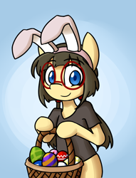 Size: 3055x4000 | Tagged: safe, artist:spheedc, oc, oc:sphee, species:earth pony, species:pony, basket, bunny ears, clothing, commission, cute, digital art, easter, easter egg, female, filly, glasses, gradient background, holiday, mare, semi-anthro, shirt, solo, ych example, your character here