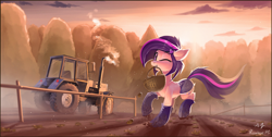 Size: 2754x1390 | Tagged: safe, artist:anti1mozg, artist:ramiras, oc, oc only, oc:amethyst arkin, species:earth pony, species:pony, basket, boots, clothing, collaboration, daisy dukes, farm, female, floppy ears, food, forest, looking at you, mare, mouth hold, one eye closed, potato, raised hoof, scenery, shoes, solo, tractor, wink