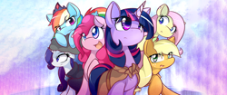 Size: 2560x1080 | Tagged: safe, artist:dshou, edit, character:applejack, character:fluttershy, character:pinkie pie, character:rainbow dash, character:rarity, character:twilight sparkle, cloak, clothing, cloud, crown, ear piercing, jewelry, looking up, lying down, mane six, missing accessory, open mouth, piercing, raised hoof, regalia, simple background, smirk, ultra widescreen, wallpaper, wallpaper edit, widescreen