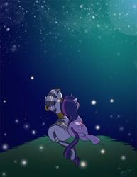Size: 638x825 | Tagged: safe, artist:bunnimation, character:twilight sparkle, character:twilight sparkle (unicorn), character:zecora, species:pony, species:unicorn, species:zebra, female, intertwined tails, lesbian, mare, shipping, stargazing, twicora