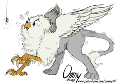 Size: 800x553 | Tagged: safe, artist:omny87, artist:tinibirb, edit, oc, oc only, oc:der, species:griffon, behaving like a bird, birb, birds doing bird things, cheek fluff, chest fluff, color edit, colored, fluffy, frown, glare, leg fluff, neck fluff, puffy cheeks, scared, shivering, sketch, solo, spider, spread wings, tail fluff, wide eyes, wing fluff, wings
