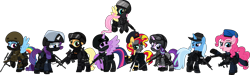 Size: 8001x2403 | Tagged: safe, alternate version, artist:n0kkun, character:applejack, character:fluttershy, character:pinkie pie, character:rainbow dash, character:rarity, character:starlight glimmer, character:sunset shimmer, character:trixie, character:twilight sparkle, character:twilight sparkle (alicorn), species:alicorn, species:earth pony, species:pegasus, species:pony, species:unicorn, accuracy international, afp, ak-103, armor, assault rifle, aug, australia, awm, balaclava, belt, beret, boots, bope, brazil, british, bullet, clothing, colt canada c8nld, commission, cuffs, ear piercing, earpiece, earring, face paint, famas, female, fingerless gloves, flying, france, fsb, german, gign, glock, glock 17, gloves, goggles, grenade, gsg9, gun, handgun, hat, helmet, hk416, holster, imbel md97, jacket, jewelry, knee pads, knife, m4a1, mane six, mare, model 686, mp5, mp5k, mp7, netherlands, open mouth, p-965, p90, pants, piercing, pistol, police, pouch, radio, raised hoof, raised leg, remington 870, revolver, rifle, royal marechaussee, sawed off shotgun, sco19, sek, shirt, shoes, shotgun, shotgun shell, simple background, skull, sniper, sniper rifle, steyr aug, submachinegun, swat, transparent background, united kingdom, united states, usp, visor, wall of tags, weapon
