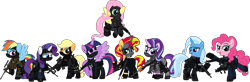 Size: 7999x2625 | Tagged: safe, alternate version, artist:n0kkun, character:applejack, character:fluttershy, character:pinkie pie, character:rainbow dash, character:rarity, character:starlight glimmer, character:sunset shimmer, character:trixie, character:twilight sparkle, character:twilight sparkle (alicorn), species:alicorn, species:earth pony, species:pegasus, species:pony, species:unicorn, accuracy international, afp, ak-103, armor, assault rifle, aug, australia, awm, balaclava, belt, boots, bope, brazil, british, bullet, clothing, colt canada c8nld, commission, cuffs, ear piercing, earpiece, earring, face paint, famas, female, fingerless gloves, flying, france, fsb, german, gign, glock, glock 17, gloves, grenade, gsg9, gun, handgun, hk416, holster, imbel md97, jacket, jewelry, knee pads, knife, m4a1, mane six, mare, model 686, mp5, mp5k, mp7, netherlands, open mouth, p-965, p90, pants, piercing, pistol, police, pouch, radio, raised hoof, raised leg, remington 870, revolver, rifle, royal marechaussee, sawed off shotgun, sco19, sek, shirt, shoes, shotgun, shotgun shell, simple background, skull, sniper, sniper rifle, steyr aug, submachinegun, swat, transparent background, united kingdom, united states, usp, wall of tags, weapon