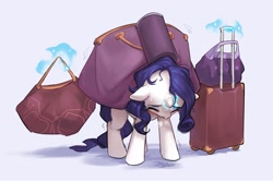 Size: 1721x1140 | Tagged: safe, artist:luciferamon, character:rarity, species:pony, species:unicorn, bags, blushing, carrying, ear fluff, eyes closed, female, floppy ears, frown, heavy, levitation, luggage, magic, mare, shivering, simple background, solo, straining, sweat, telekinesis, white background