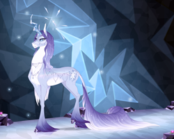 Size: 2000x1600 | Tagged: safe, artist:dementra369, character:tree of harmony, oc, species:pony, species:unicorn, g4, accessories, cloven hooves, crystal hooves, crystal horn, female, horn, leonine tail, mare, ponified, solo, tree of harmony, white pupils