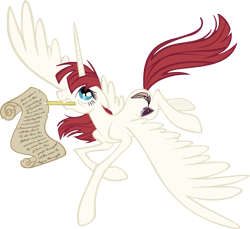 Size: 4222x3870 | Tagged: dead source, safe, artist:draikjack, artist:lauren faust, oc, oc only, oc:fausticorn, species:alicorn, species:pony, alicorn oc, female, lauren faust, mare, mouth hold, pencil, photoshop, scroll, simple background, solo, transparent background