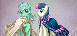 Size: 1279x600 | Tagged: safe, artist:saturnspace, character:bon bon, character:lyra heartstrings, character:sweetie drops, species:earth pony, species:pony, species:unicorn, g4, cape, clothing, duo, female, mare, photoshop, raised hoof