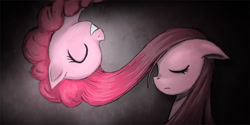 Size: 1200x600 | Tagged: safe, artist:saturnspace, character:pinkamena diane pie, character:pinkie pie, species:earth pony, species:pony, g4, duality, eyes closed, female, mare, photoshop