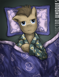 Size: 700x900 | Tagged: safe, artist:saturnspace, character:doctor whooves, character:time turner, species:earth pony, species:pony, g4, bed, clothing, insomnia, male, muffin, pajamas, photoshop, solo, stallion