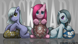 Size: 1920x1080 | Tagged: safe, artist:saturnspace, character:limestone pie, character:marble pie, character:pinkamena diane pie, character:pinkie pie, species:earth pony, species:pony, g4, cute, cuteamena, family, female, filly, incorrect leg anatomy, looking at you, photoshop, pie sisters, pie twins, siblings, sisters, stone, trio, twins, wallpaper