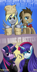 Size: 800x1560 | Tagged: safe, artist:saturnspace, character:derpy hooves, character:doctor whooves, character:rarity, character:time turner, character:twilight sparkle, species:earth pony, species:pegasus, species:pony, species:unicorn, ship:doctorderpy, g4, beatnik rarity, beret, clothing, female, hat, male, mare, photoshop, shipping, stallion, straight