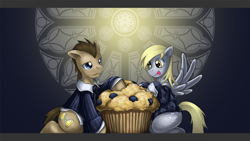 Size: 1920x1080 | Tagged: safe, artist:saturnspace, character:derpy hooves, character:doctor whooves, character:time turner, species:earth pony, species:pegasus, species:pony, ship:doctorderpy, clothing, female, giant muffin, male, mare, muffin, photoshop, shipping, stallion, straight, tongue out, wallpaper