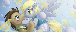 Size: 1419x600 | Tagged: safe, artist:saturnspace, character:derpy hooves, character:doctor whooves, character:time turner, species:earth pony, species:pegasus, species:pony, ship:doctorderpy, episode:winter wrap up, g4, my little pony: friendship is magic, abstract background, blushing, clothing, eye contact, female, flying, looking at each other, male, mare, photoshop, shipping, spread wings, stallion, straight, vest, wings, winter wrap up vest