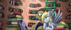 Size: 1702x720 | Tagged: safe, artist:saturnspace, character:derpy hooves, character:doctor whooves, character:time turner, species:earth pony, species:pegasus, species:pony, ship:doctorderpy, book, female, glasses, golden oaks library, library, male, mare, photoshop, shipping, stallion, straight