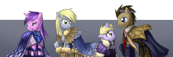 Size: 1800x600 | Tagged: safe, artist:saturnspace, character:amethyst star, character:derpy hooves, character:dinky hooves, character:doctor whooves, character:sparkler, character:time turner, species:earth pony, species:pegasus, species:pony, species:unicorn, ship:doctorderpy, g4, cape, clothing, daughter, family, father, female, filly, male, mare, mother, photoshop, shipping, stallion, straight