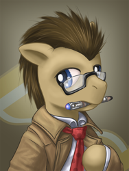 Size: 900x1200 | Tagged: safe, artist:saturnspace, character:doctor whooves, character:time turner, species:earth pony, species:pony, bust, clothing, colored pupils, crossover, doctor who, glasses, male, mouth hold, photoshop, solo, sonic screwdriver, stallion, the doctor
