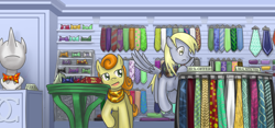 Size: 1280x600 | Tagged: safe, artist:saturnspace, character:carrot top, character:derpy hooves, character:golden harvest, species:earth pony, species:pegasus, species:pony, 1337, bowtie, duo, female, get, index get, inside, mare, necktie, photoshop, shop, shopping