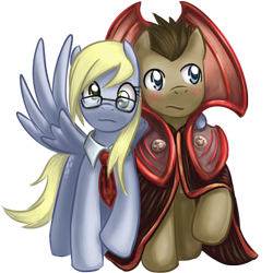 Size: 800x800 | Tagged: safe, artist:saturnspace, character:derpy hooves, character:doctor whooves, character:time turner, species:earth pony, species:pegasus, species:pony, ship:doctorderpy, doctor who, female, gallifreyan, glasses, male, mare, photoshop, shipping, simple background, stallion, straight, the doctor, transparent background