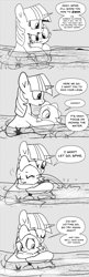 Size: 896x2768 | Tagged: safe, artist:mamatwilightsparkle, character:spike, character:twilight sparkle, species:dragon, species:pony, species:unicorn, baby, baby spike, clinging, cold, comic, crying, duo, monochrome, river, scared, shivering, swimming, tumblr, water, younger