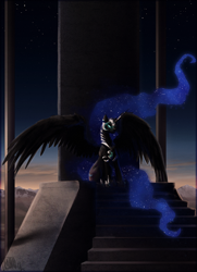 Size: 984x1362 | Tagged: safe, artist:cosmicunicorn, character:nightmare moon, character:princess luna, species:alicorn, species:pony, female, glowing eyes, long hair, long mane, long tail, mare, mountain, night, painting, photoshop, scenery, sky, solo, spread wings, stairs, stars, throne, wings