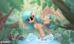 Size: 1556x940 | Tagged: oc needed, safe, artist:kez, artist:rileyisherehide, oc, oc only, species:pegasus, species:pony, collaboration, forest, solo, splashing, water
