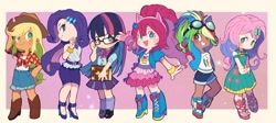 Size: 2000x896 | Tagged: safe, artist:miyata__0529, kotobukiya, character:applejack, character:fluttershy, character:pinkie pie, character:rainbow dash, character:rarity, character:twilight sparkle, species:human, g4, chibi, mane six