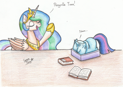 Size: 2322x1656   Tagged: safe, artist:serenepony, character:princess celestia, character:twilight sparkle, character:twilight sparkle (unicorn), species:alicorn, species:pony, species:unicorn, bed, blanket, book, box, crown, cute, female, garfield, jewelry, long mane, mare, regalia, royalty, smiling, traditional art, under blanket